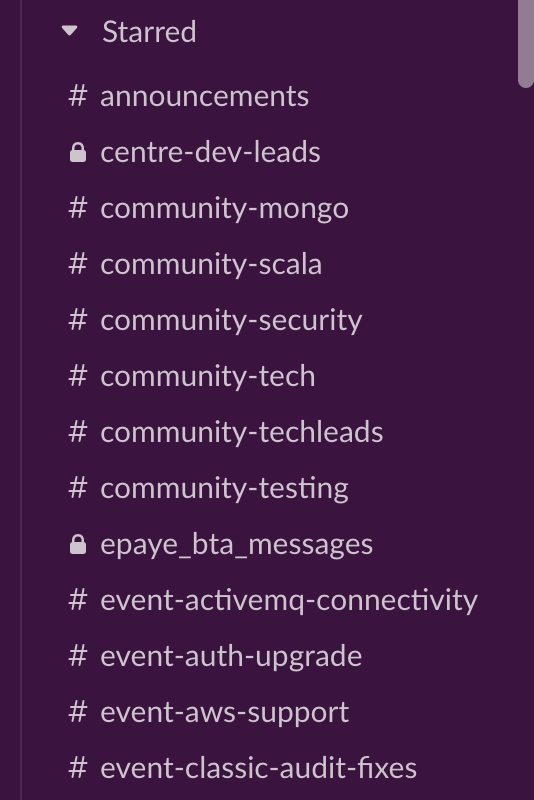 Slack channel list